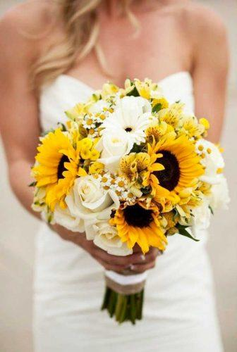 sunflower wedding decor ideas bouquet with white rose couturecolorado