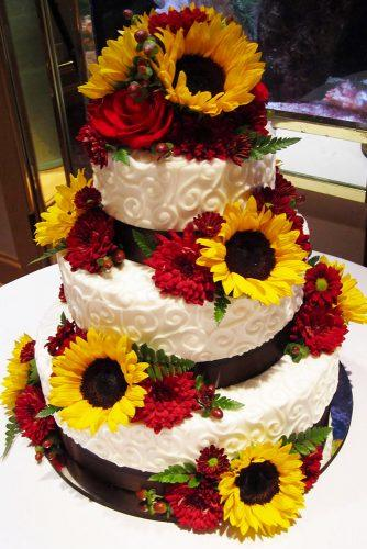 sunflower wedding decor ideas cake with red flower sarahbcakes