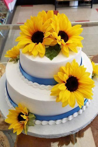 sunflower wedding decor ideas cake with sunflower blue tape summer.w.bailey