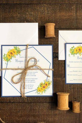 sunflower wedding decor ideas card with bow theinvitationloft