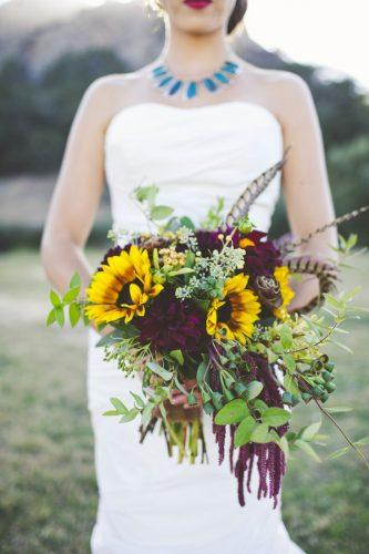 sunflower wedding decor ideas casacade bouquet sarahkathleen