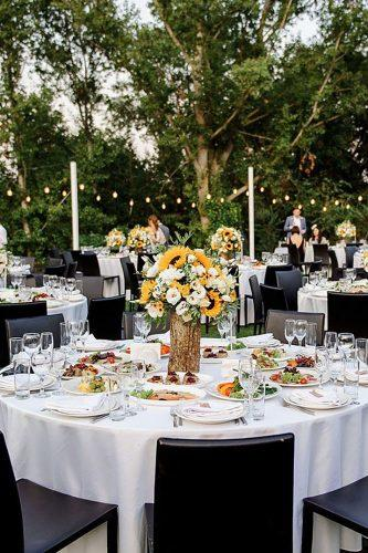 sunflower wedding decor ideas composition on the round table danielleiatenkoevents