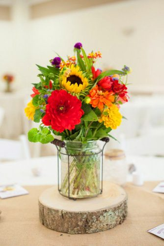 sunflower wedding decor ideas composition with red flower brittcroft
