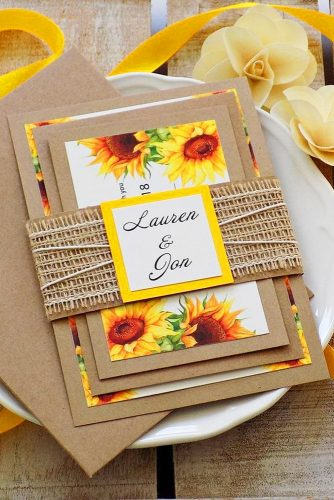 sunflower wedding decor ideas invitations with yellow tape melindaweddingdesign