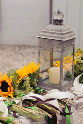 sunflower wedding decor ideas lamp and flower laura leigh photo