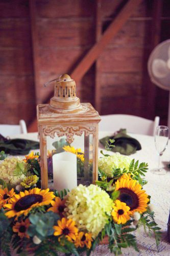 sunflower wedding decor ideas lamp with candle photographybyvalerie