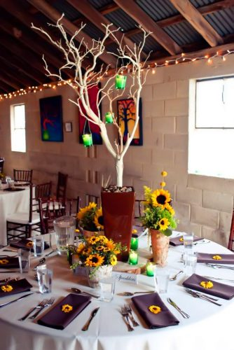 sunflower wedding decor ideas table with brown lauraleighphoto