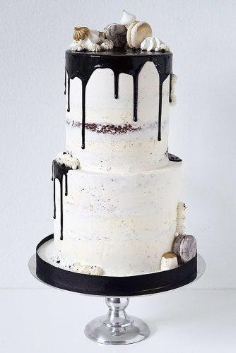drip wedding cakes white naked with macarons juliana's pastries & cakes