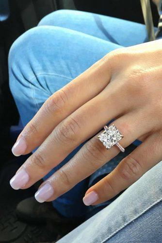 engagement ring ideas ring inspiration white gold princess cut diamond pave band