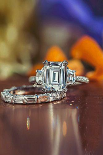 tacori engagement rings three stones diamond emerald cut gold