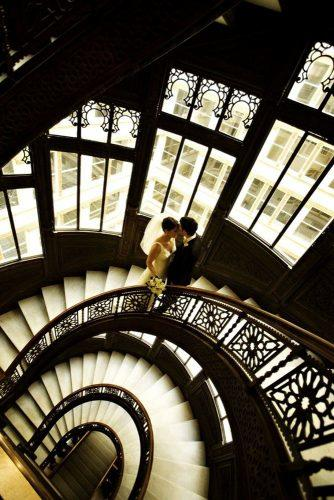 wedding photo shoot indoor ideas bride and groom at the stairs view above beckyhill photography