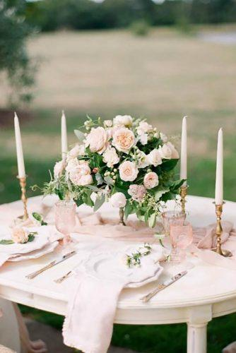 wedding receptions blush flower centerpiece qlix photography