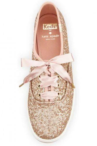 comfortable wedding shoes-cute-pastel pink keds with glitters