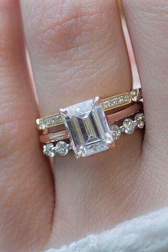 diamond wedding rings emerald cut solitaire rose yellow gold