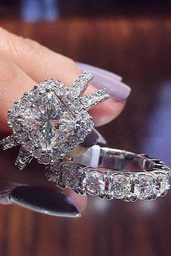 diamond wedding rings halo princess cut split pave band