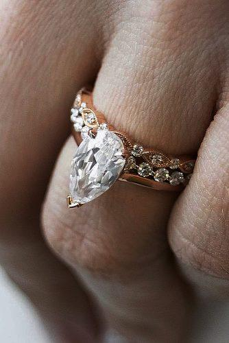 diamond wedding rings rose gold pear cut solitaire
