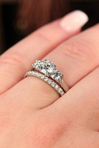 diamond wedding rings white gold three stones simple