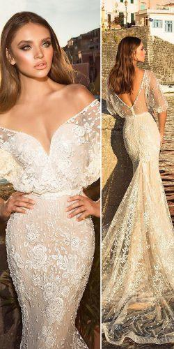 lace ivory sweetheart off the shoulder open back wedding dresses with train julie vino bridal