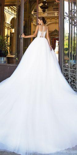 ball gown illusion back wedding dresses with train