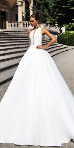 simple satin ball gown deep v neck wedding dresses by milla nova 2017