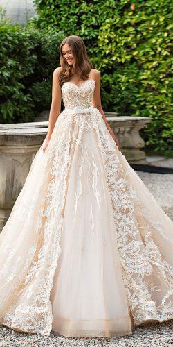 sweetheart lace ivory ball gown wedding dresses by milla nova 2017