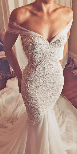 off the shoulder wedding dresses mermaid beaded embellishment bridal gown