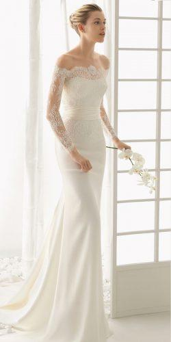 off the shoulder wedding dresses modern sheath lace sleeves bridal gown with train rosa clara