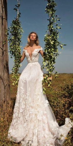 A-line organza lace wedding dress with 3D silk flowers embroidery gala by galialahav