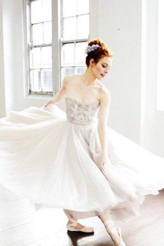 ballet wedding dress ideas tea length bridal gown
