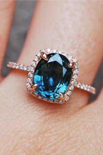 blue green sapphire cushion halo diamond rose gold engagenet rings