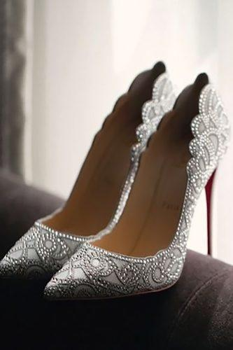bridal shoes silver heels with stones wedluxe