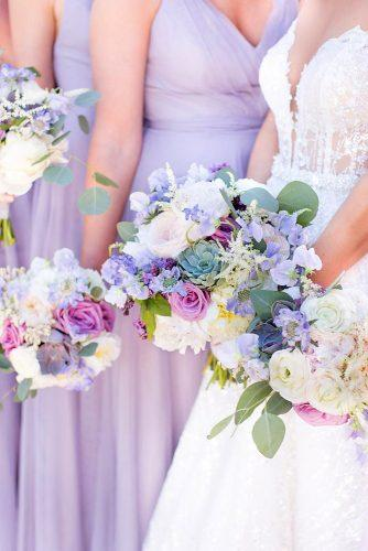 bridesmaid wedding bouquets lilac and white with succulents and green leaves amy_demos