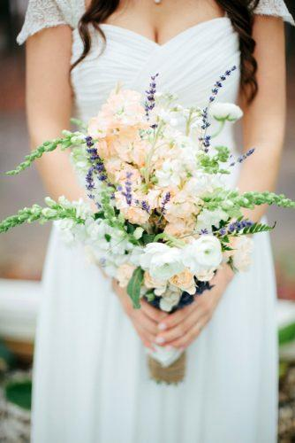bridesmaid wedding bouquets white peach and lilac flowers justen clay photography