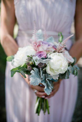 bridesmaid wedding bouquets white peonies lilas small roses and greenery katherine ashdown photography