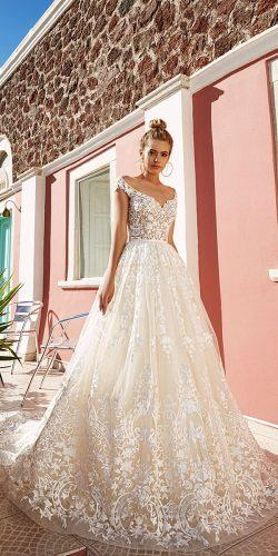 eva lendel lace ball gown with v-necline