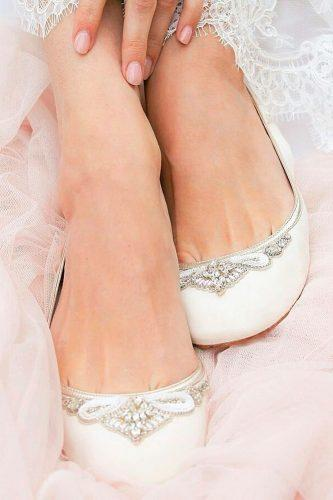 flats white wedding shoes with rhinestones emmy london official