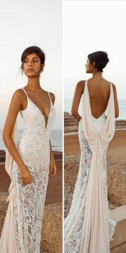 lace mermaid wedding dress with dramatic draping along the back and chiffon train by gala galia lahav