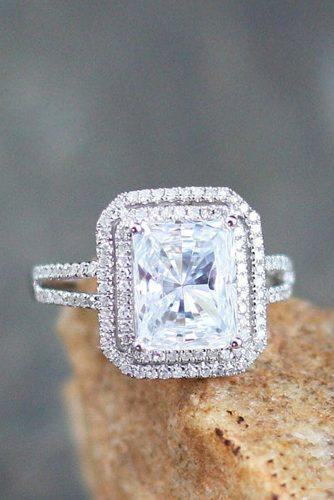 halo moissanite engagement rings with pave band 3