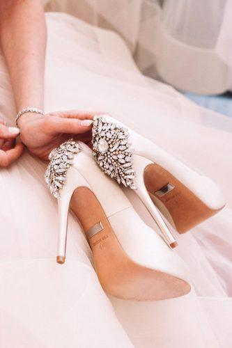 white wedding shoes high heels with rhinestones stylish badgley mischka