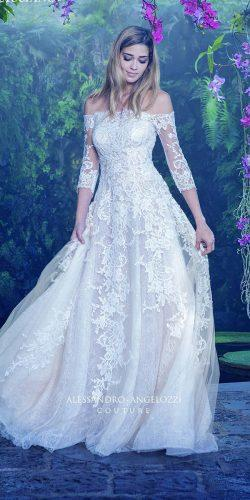 a-line embellished bodice off the shoulder sleeve wedding dresses by alessandro angelozzi