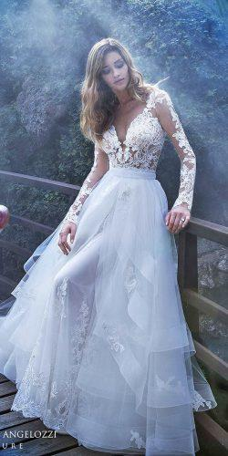 lace long sleeves v neck wedding dresses