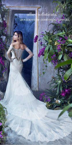 long sleeves off the shoulder sweetheart-lace wedding dresses amazing train