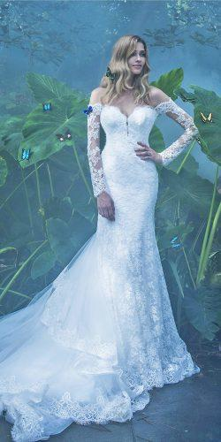 long sleeves off the shoulder sweetheart lace wedding dress amazing train by alessandro angelozzi