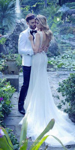 open low back embellished bodice wedding dresses with train by alessandro angelozzi