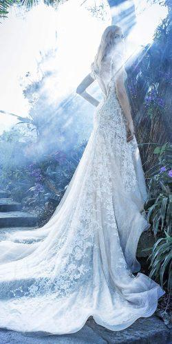 open v low back lace angelozzi wedding dresses with train