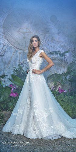 v neckline lace a line wedding dresses with train by alessandro angelozzi