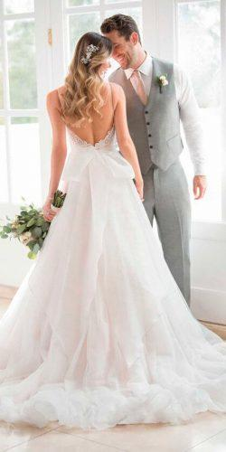 ball gown simple spaghetti straps with back bow stella york wedding dresses