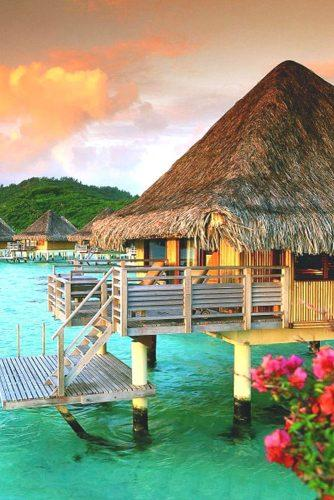 best honeymoon spots island peach clouds and pile house in bora bora
