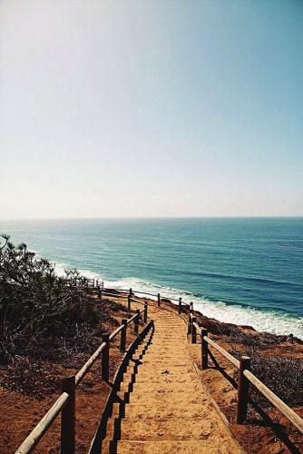 best honeymoon spots stairs in sand to the california beach