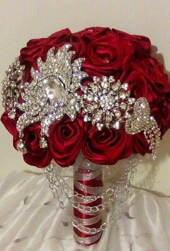 brooch wedding bouquets red rose enchantingbouquets